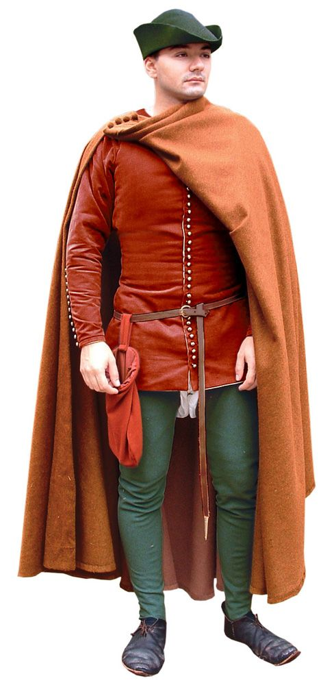 Complete outfit 14th cent. Cotehardie and breeches with a circle cloak.