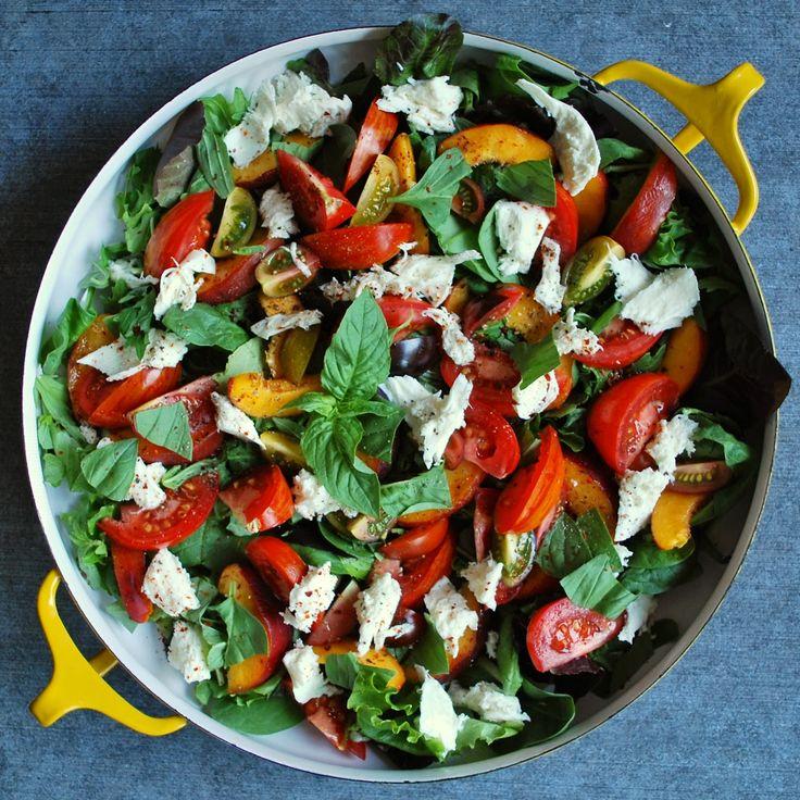Nectarine, heirloom tomato, basil & buffalo mozzarella salad. Recipe ...