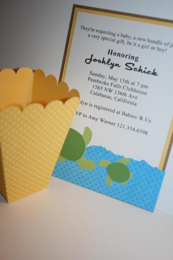 sea turtle baby shower invitation by embellishedpaper on etsy