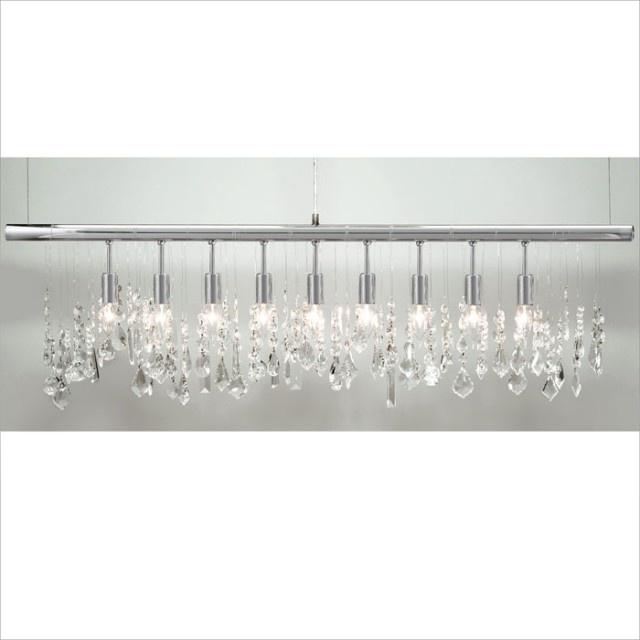 Linear Dining Room Lighting: Linear Strand Crystal Chandelier