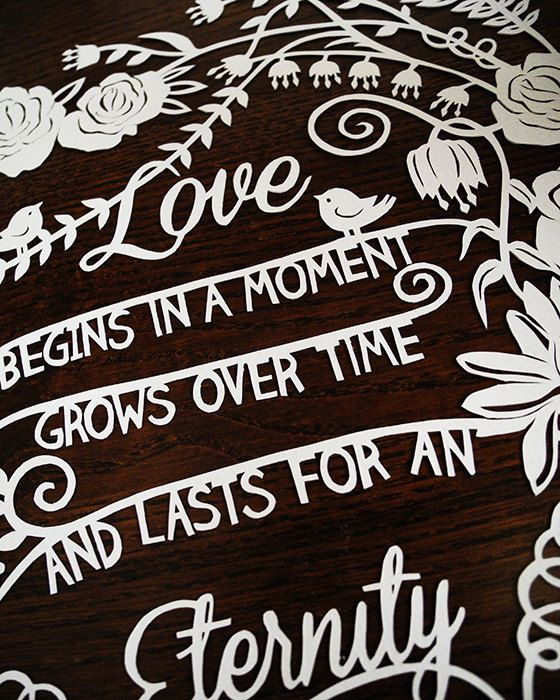 Original Custom Papercut - Love is Eternal Quote