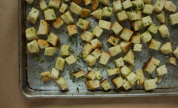 homemade garlic herb croutons   Recipes   Pinterest