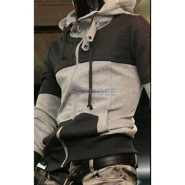 Double Color Full Zip Casual Hoodie With Cap via Polyvore