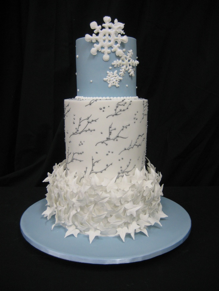 3T Round Winter Cake white and blue