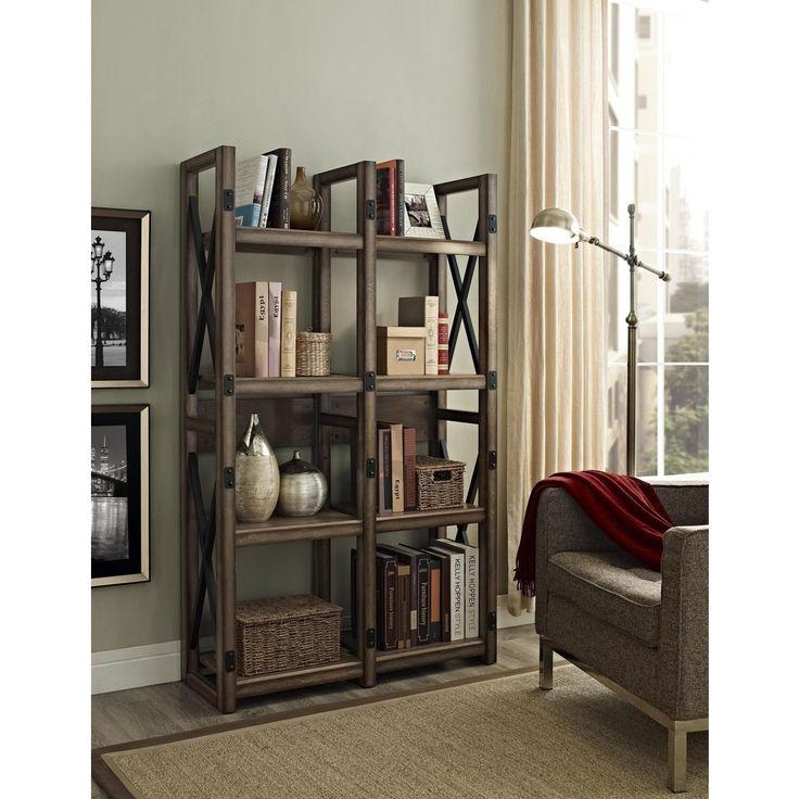 Wildwood rustic metal frame bookcase room divider - Bookshelves as room dividers ...