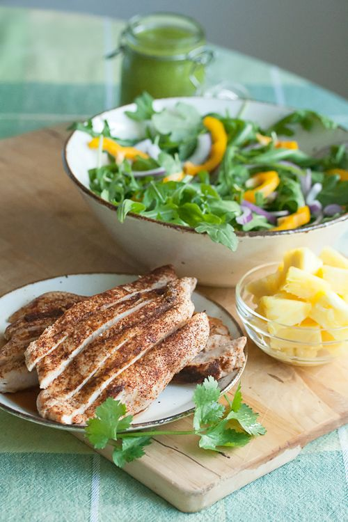 Grilled Chicken Salad with Spicy Pineapple Dressing | Recipe