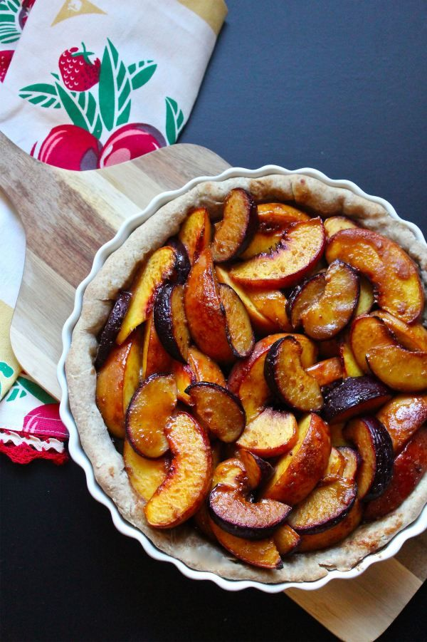 brown sugar peach and plum tart | vegan desserts | Pinterest