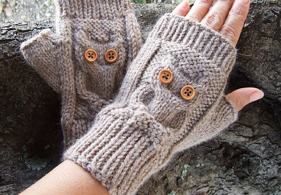 Owl Mittens Knitting Pattern : Owl Knit Fingerless Mittens - PDF Pattern - Owl Cable Knit Fingerless?