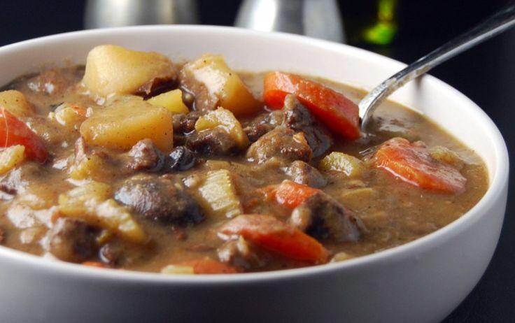 "Enjoy this vegan Irish ""lamb"" stew that's packed with filling ..."