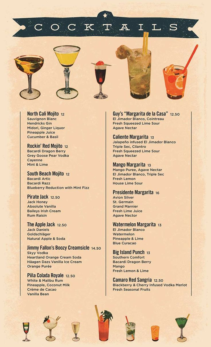 Cocktail menu menu designs pinterest for List of alcoholic mixed drinks