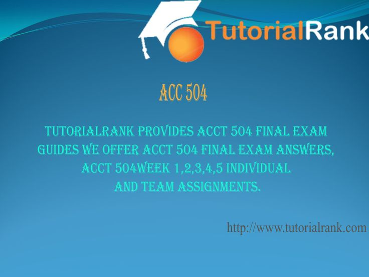 acct 504 final exam answers