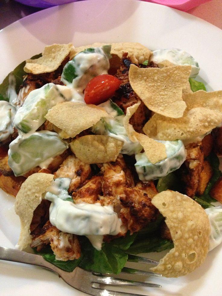 Chicken Tandoori Salad. Cos lettuce Cherry tomatoes Capsicum Lightly ...