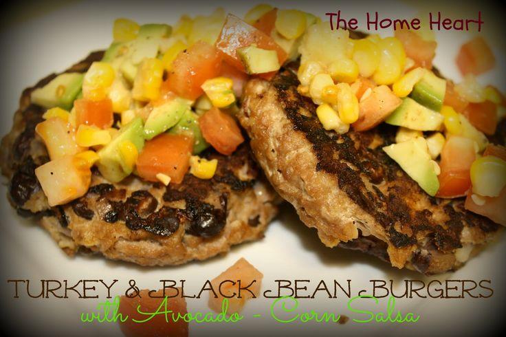 Turkey & Black Bean Burgers with Avocado-Corn Salsa