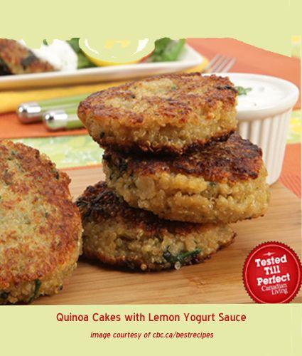 Salmon And Quinoa Patties With Lemon-Yogurt Sauce Recipe — Dishmaps