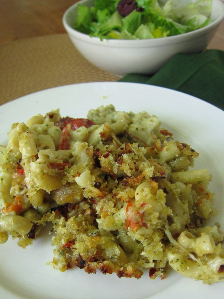 Pesto Macaroni and Goat Cheese with Roasted Red Peppers