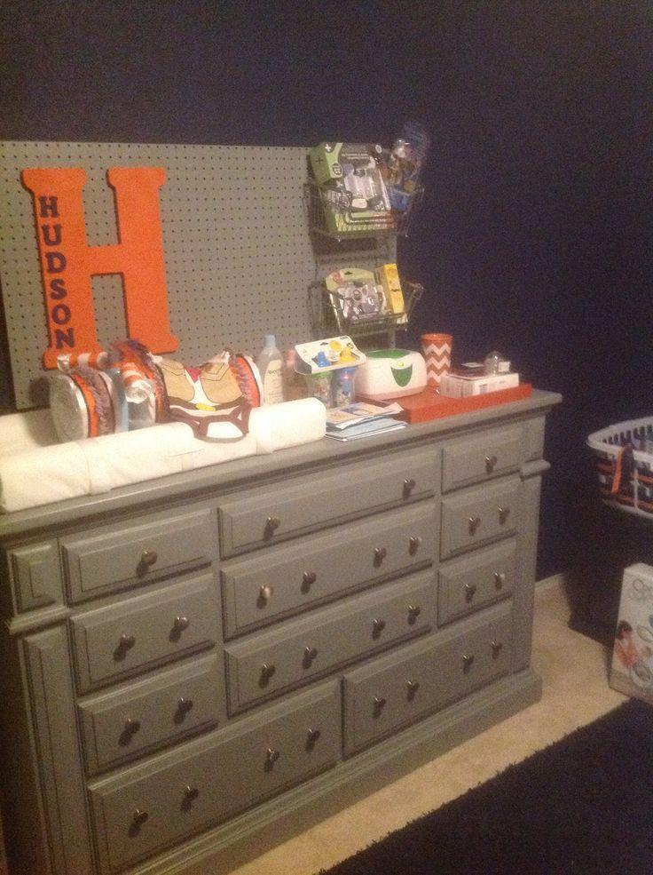 Orange navy and grey nursery