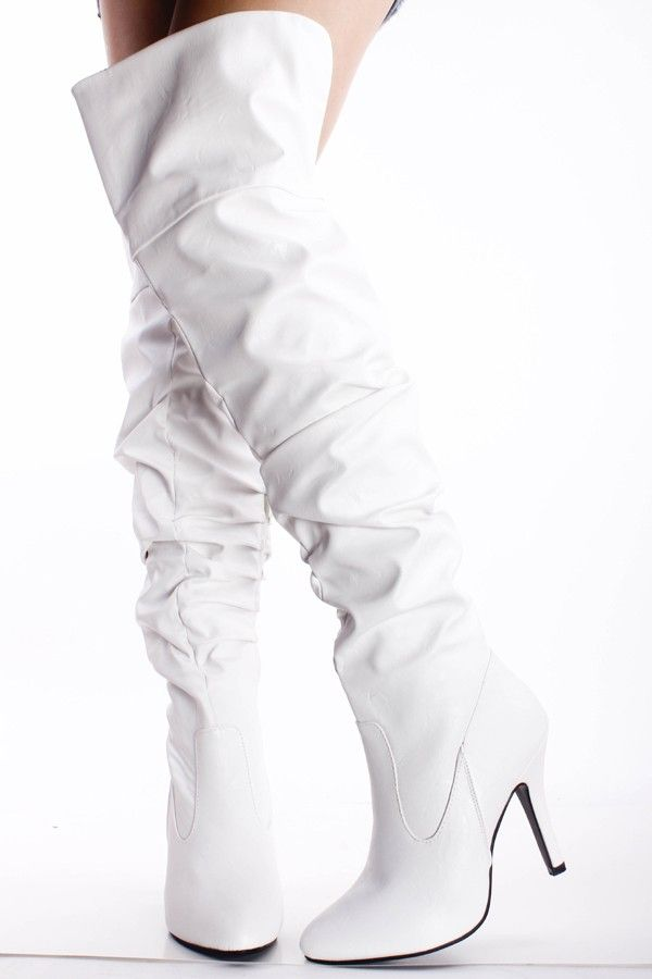 White faux leather scrunched over the knee thigh high boots women