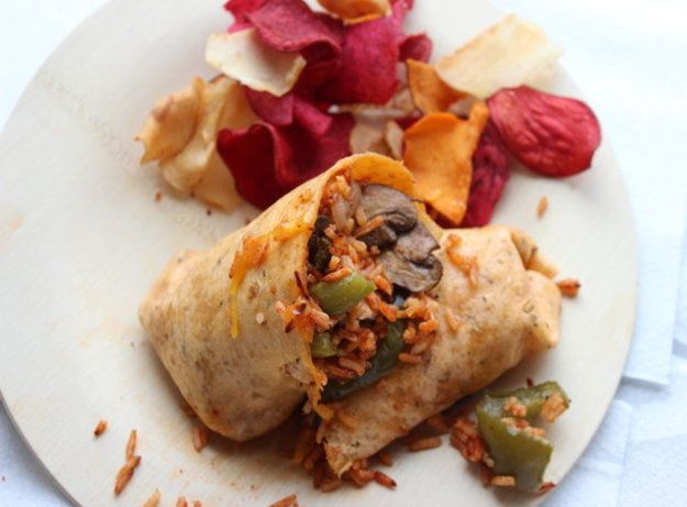 Make-Ahead Overstuffed Burrito with Mushrooms, Cheddar and Tomato Ric ...