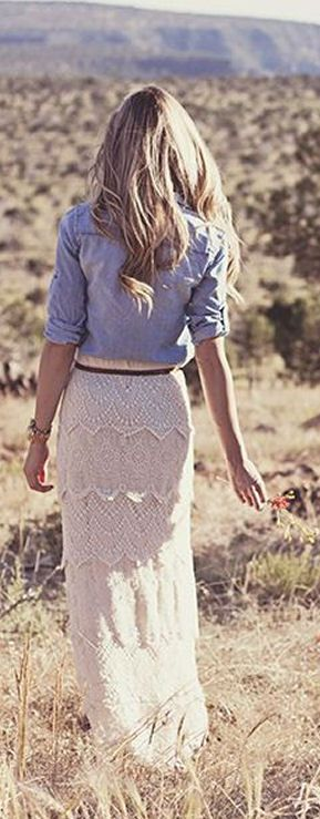 Lace Maxi Skirt in wheat with great angles with denim blouse. Cute For Fall!