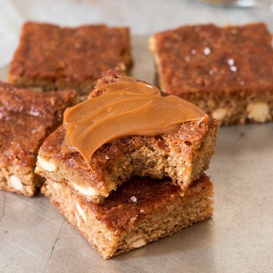 Cinnamon cashew bars swirled with dulce de leche and sprinkled with ...