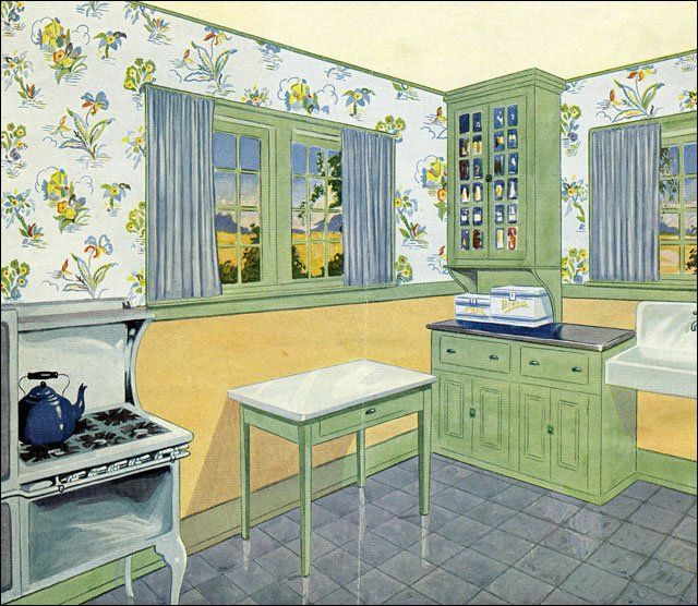1929 Green, Yellow, and Blue Kitchen  Vintage Kitchen  Pinterest