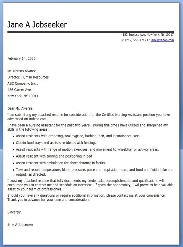 CNA Cover Letter Example | Career Life | Pinterest