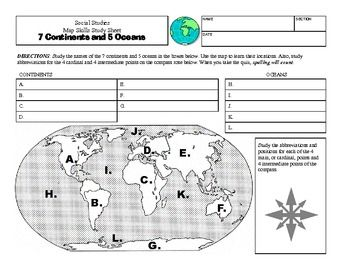 Continents worksheet printable