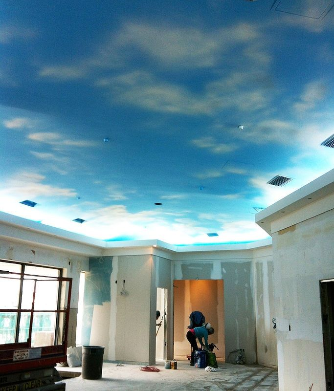 Sky painted ceiling i love this paintright colac for Ceiling mural ideas