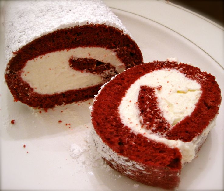 Red Velvet-Cherry Cake Roll | cakes and confections | Pinterest