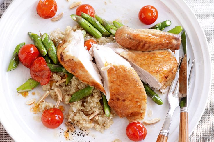 Roast chicken with spiced quinoa. | Healthy food and snacks | Pintere ...