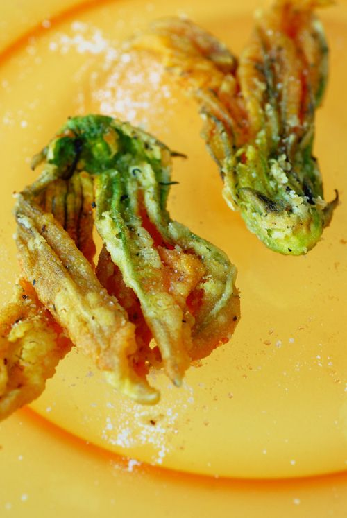 Delicate, Crispy Fried Zucchini Blossoms. Flavored with Herbs de ...