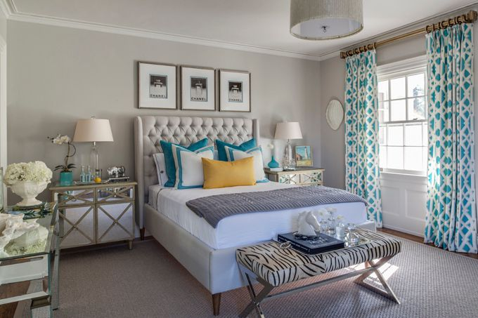 neutral bedroom with pops of color from beach glass designs