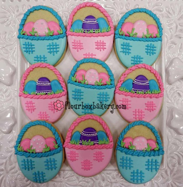 Egg Baskets | Easter/ Religious Decorated Cookies | Pinterest