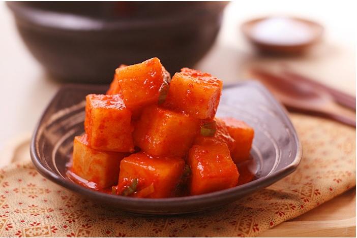 (kkakdugi) / Radish Kimchi Diced radish kimchi seasoned with chili ...
