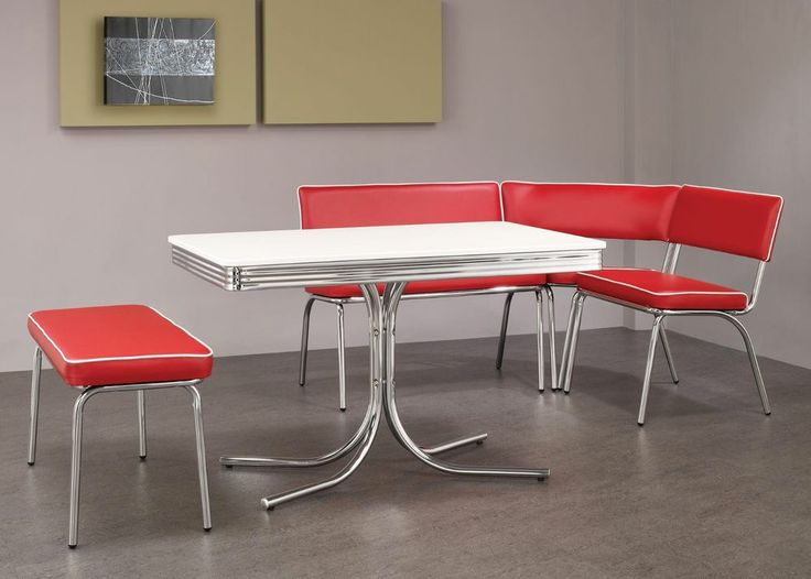 1950s style chrome retro dining table red benches corner for Retro dining table