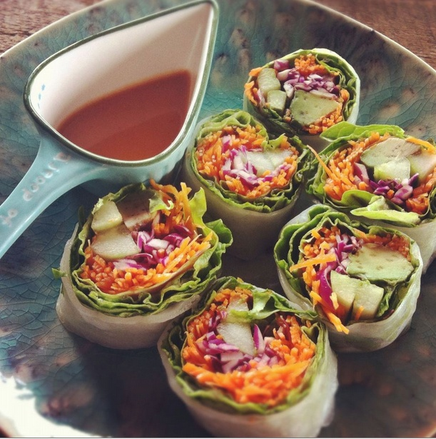 Cucumber - Avocado - Carrots - Cabbage - Slice the above and roll ...
