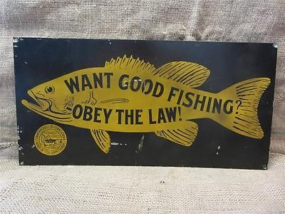 Vintage fishing metal sign pennsylvania antique old fish for Vintage fishing signs