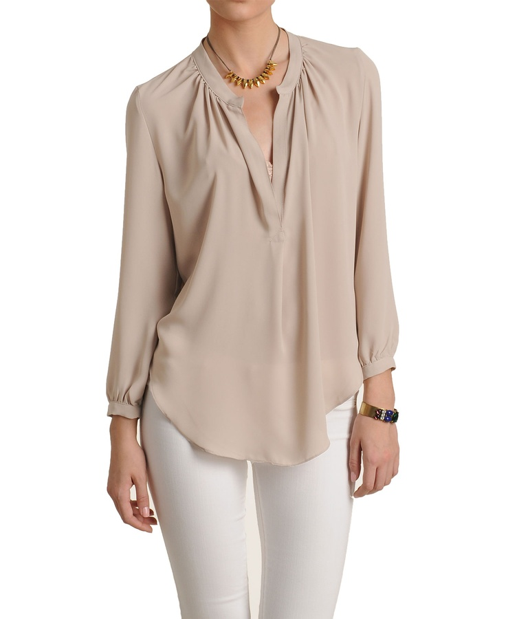 Olivaceous Notched Long Sleeve Blouse 97