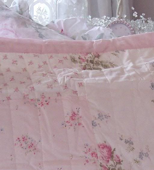 Twin shabby cottage chic pink peony roses patchwork quilt