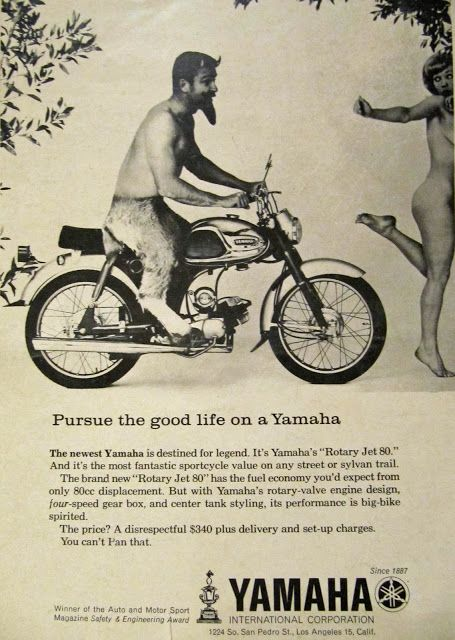 Yamaha and the good life, again. So this son of the devil needs a motorcycle to catch up with some girl that isn't even trying to run? - Yamaha Ad -