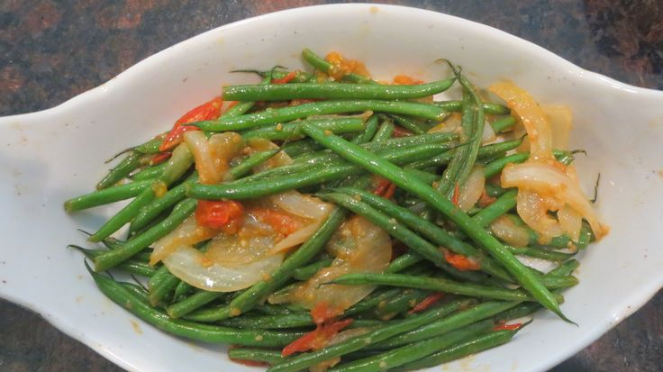 FRENCH beans , sautéed with cherry tomatoes sliced, onion, olive oil ...