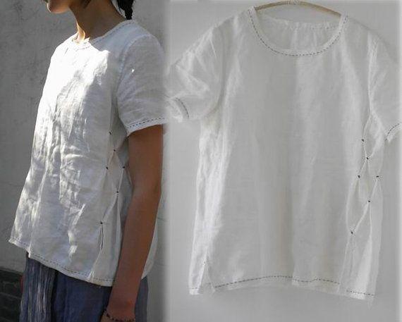 White Linen Short Sleeve Blouse 62