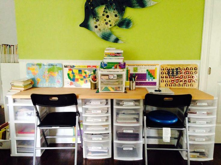 homeschool desk idea homeschool pinterest