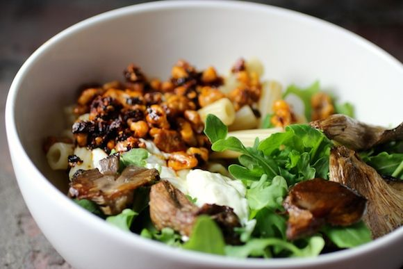 rigatoni, roasted oyster mushrooms, arugula, smoky chile walnuts ...