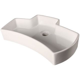 Ticor White Jigsaw Vessel Overmount Porcelain Vanity Bathroom Sink