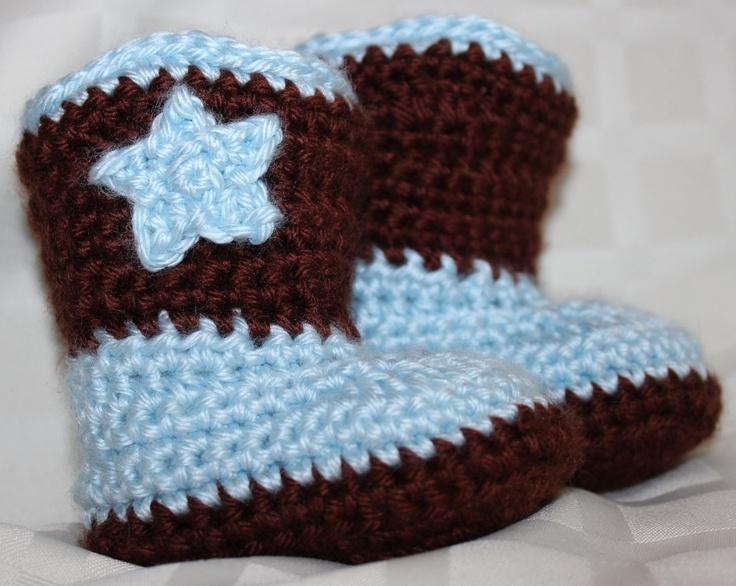 Crochet Baby Cowboy Set Pattern : Crochet Baby Cowboy Booties Photo Prop - CUSTOM ORDERS ...