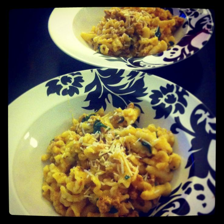 Pasta with Butternut Sauce, Spicy Sausage, and Baby Spinach