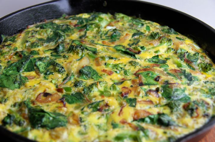 Broccoli Spinach Frittata with Caramelized Onions   Recipe