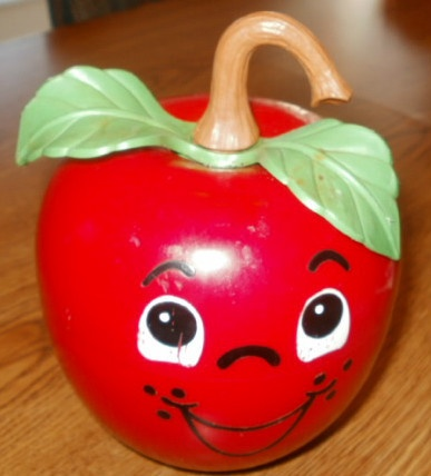 Fisher Price 1972 Happy Apple Long Stem Chime Roly Poly Musical Toy