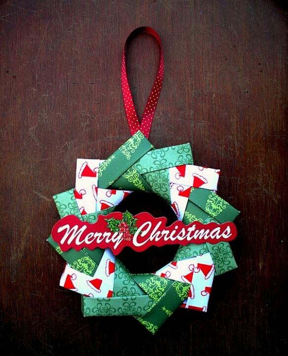 Origami merry christmas wreath wreath s just wreath s pinter